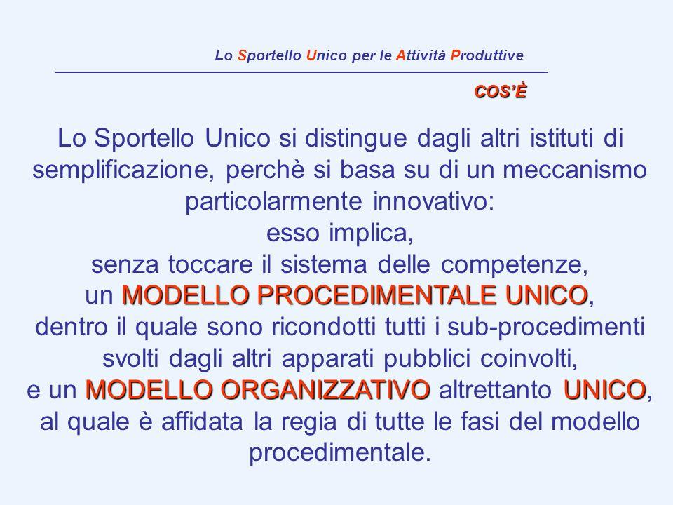 Lo Sportello Unico per le Attività Produttive Lo Sportello Unico si distingue dagli altri istituti di semplificazione, perchè si basa su di un meccani