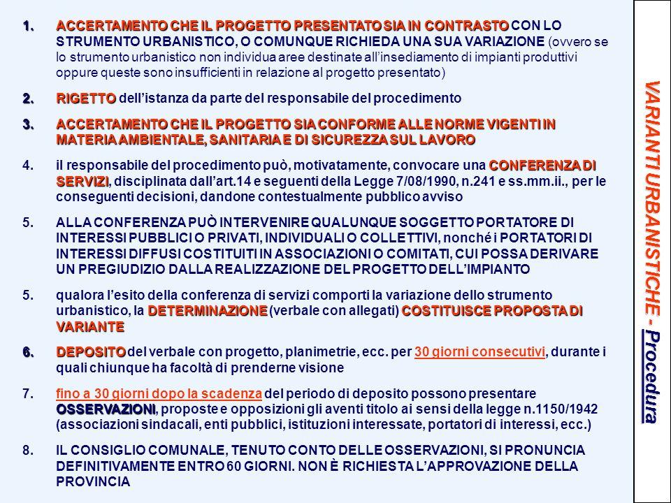 VARIANTI URBANISTICHE - Procedura 1.ACCERTAMENTO CHE IL PROGETTO PRESENTATO SIA IN CONTRASTO 1.ACCERTAMENTO CHE IL PROGETTO PRESENTATO SIA IN CONTRAST