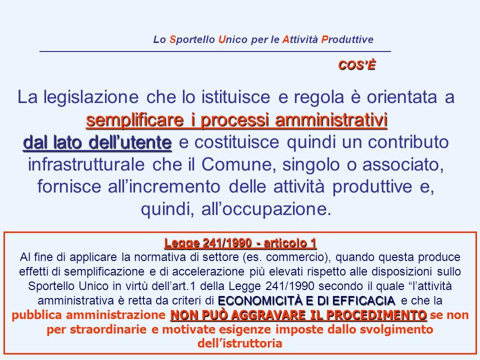 semplificare i processi amministrativi La legislazione che lo istituisce e regola è orientata a semplificare i processi amministrativi dal lato dellut