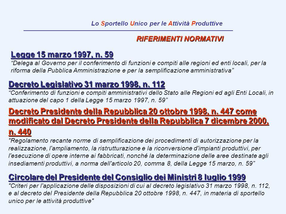 RIFERIMENTI NORMATIVI Circolare del Presidente del Consiglio dei Ministri 8 luglio 1999