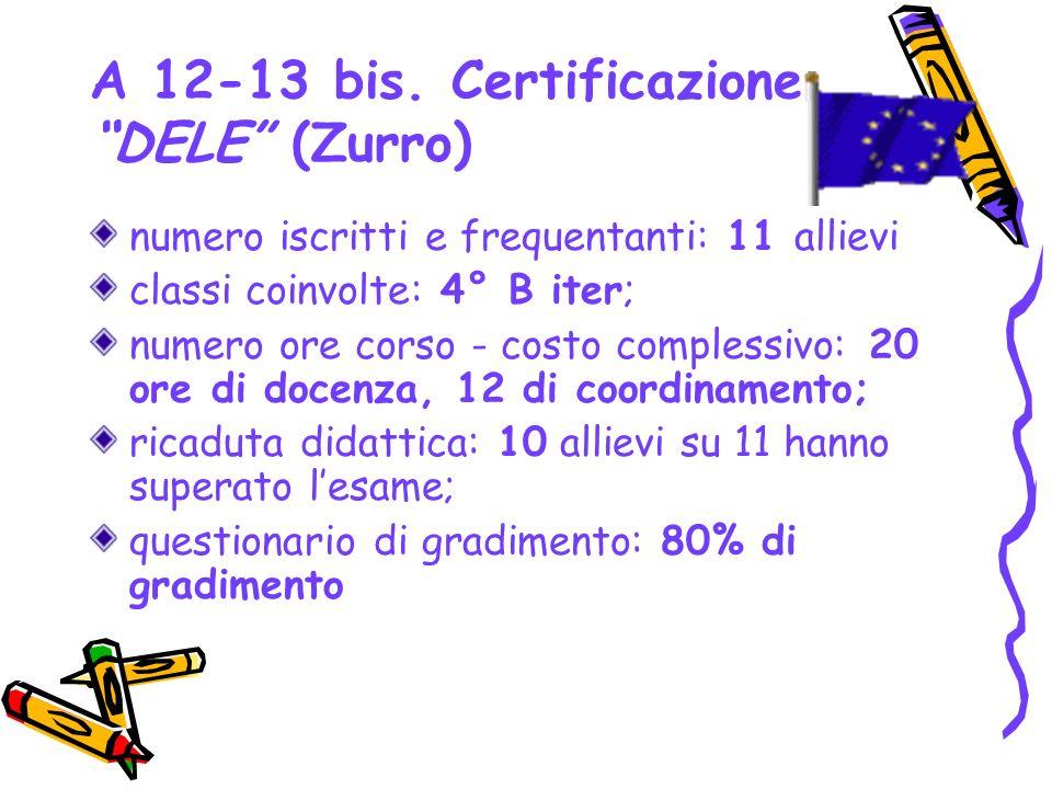 A 12-13 bis. Certificazione DELE (Zurro) numero iscritti e frequentanti: 11 allievi classi coinvolte: 4° B iter; numero ore corso - costo complessivo: