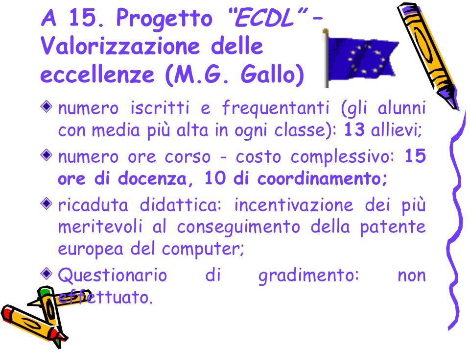 A 15. Progetto ECDL – Valorizzazione delle eccellenze (M.G. Gallo) numero iscritti e frequentanti (gli alunni con media più alta in ogni classe): 13 a