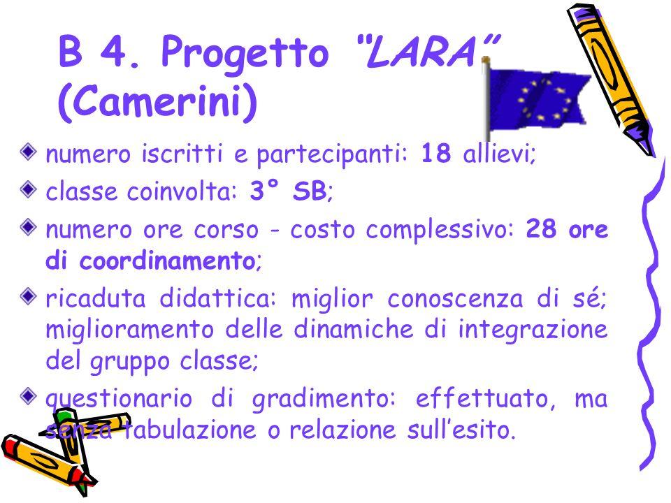 B 4. Progetto LARA (Camerini) numero iscritti e partecipanti: 18 allievi; classe coinvolta: 3° SB; numero ore corso - costo complessivo: 28 ore di coo