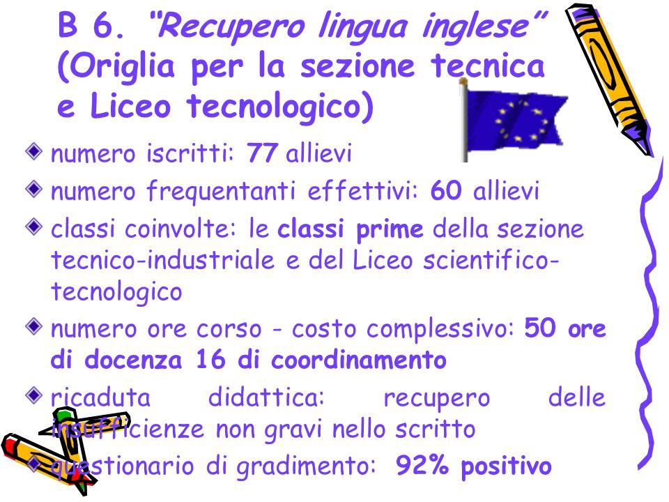 B 6. Recupero lingua inglese (Origlia per la sezione tecnica e Liceo tecnologico) numero iscritti: 77 allievi numero frequentanti effettivi: 60 alliev
