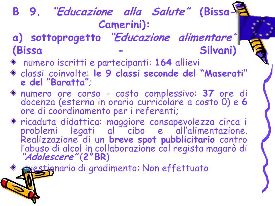 B 9. Educazione alla Salute (Bissa- Camerini): a) sottoprogetto Educazione alimentare (Bissa - Silvani) numero iscritti e partecipanti: 164 allievi cl