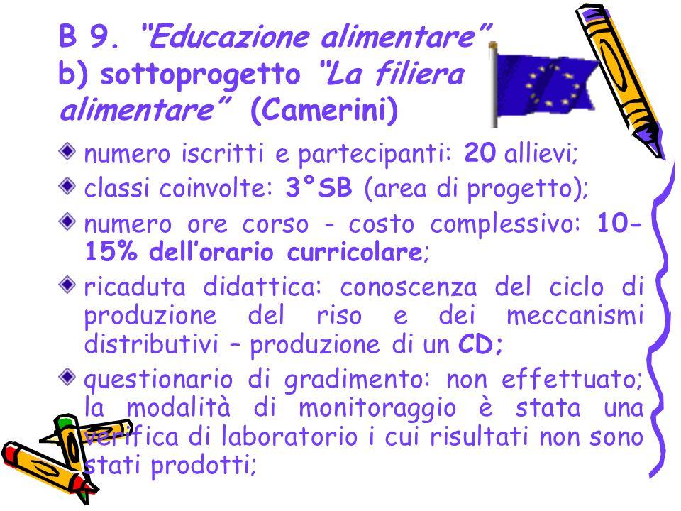 B 9. Educazione alimentare b) sottoprogetto La filiera alimentare (Camerini) numero iscritti e partecipanti: 20 allievi; classi coinvolte: 3°SB (area