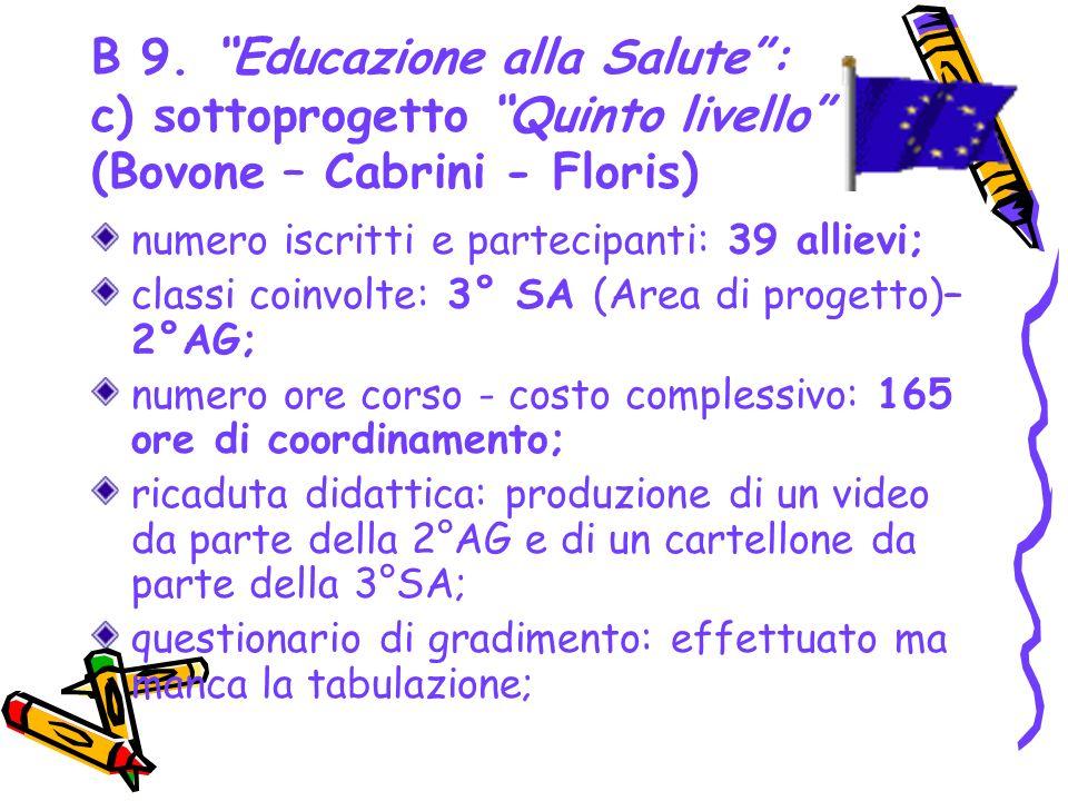 B 9. Educazione alla Salute: c) sottoprogetto Quinto livello (Bovone – Cabrini - Floris) numero iscritti e partecipanti: 39 allievi; classi coinvolte: