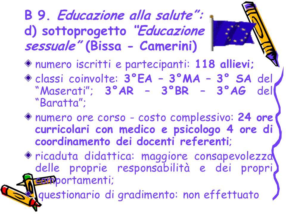 B 9. Educazione alla salute: d) sottoprogetto Educazione sessuale (Bissa - Camerini) numero iscritti e partecipanti: 118 allievi; classi coinvolte: 3°
