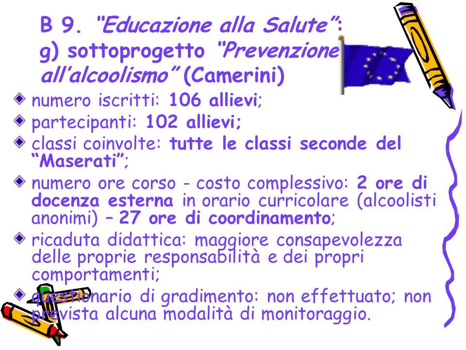 B 9. Educazione alla Salute: g) sottoprogetto Prevenzione allalcoolismo (Camerini) numero iscritti: 106 allievi; partecipanti: 102 allievi; classi coi