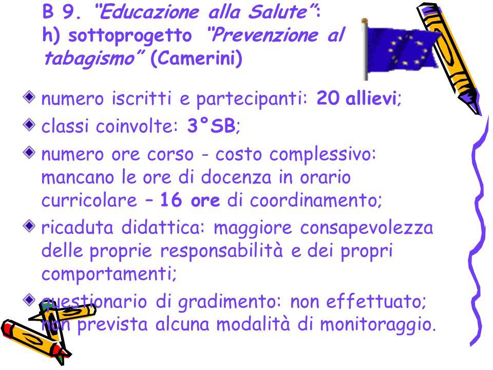 B 9. Educazione alla Salute: h) sottoprogetto Prevenzione al tabagismo (Camerini) numero iscritti e partecipanti: 20 allievi; classi coinvolte: 3°SB;