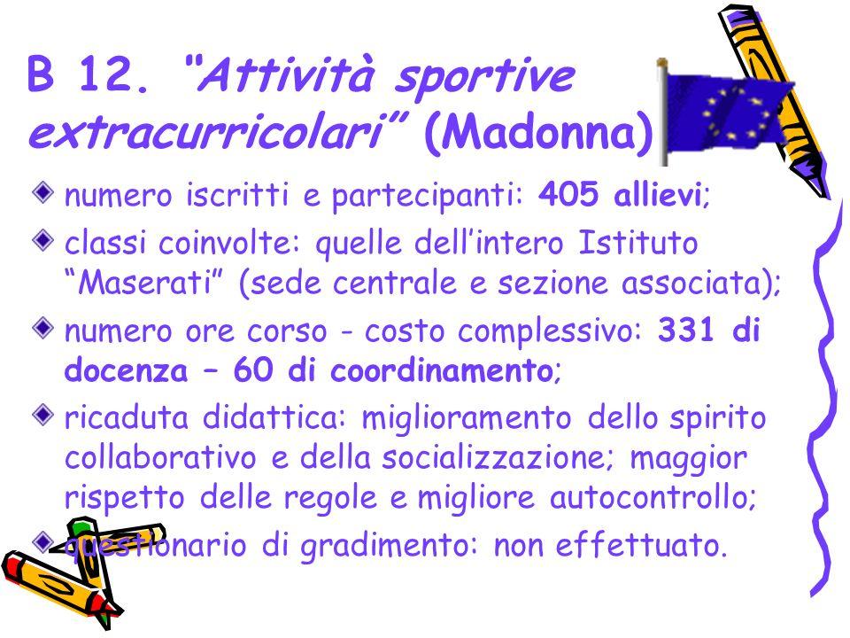 B 12. Attività sportive extracurricolari (Madonna) numero iscritti e partecipanti: 405 allievi; classi coinvolte: quelle dellintero Istituto Maserati