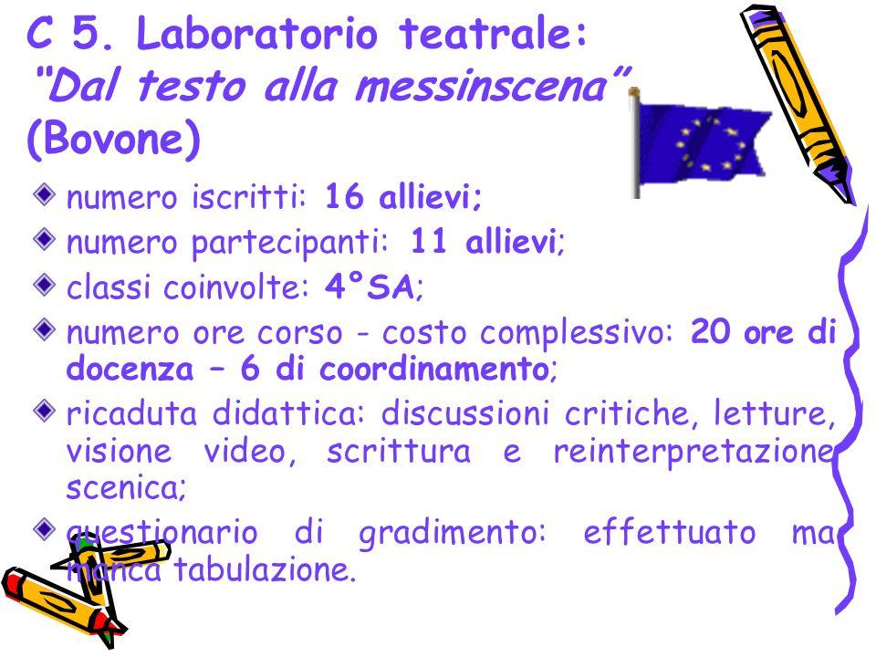C 5. Laboratorio teatrale: Dal testo alla messinscena (Bovone) numero iscritti: 16 allievi; numero partecipanti: 11 allievi; classi coinvolte: 4°SA; n