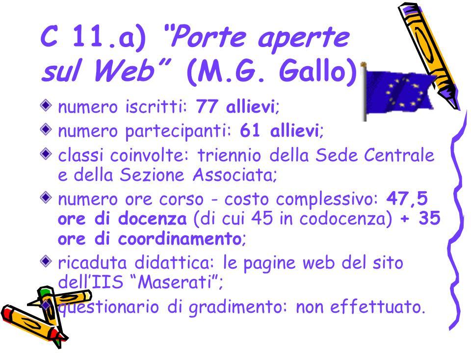 C 11.a) Porte aperte sul Web (M.G. Gallo) numero iscritti: 77 allievi; numero partecipanti: 61 allievi; classi coinvolte: triennio della Sede Centrale