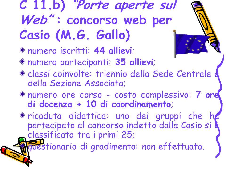 C 11.b) Porte aperte sul Web : concorso web per Casio (M.G. Gallo) numero iscritti: 44 allievi; numero partecipanti: 35 allievi; classi coinvolte: tri