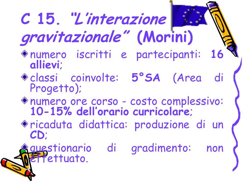 C 15. Linterazione gravitazionale (Morini) numero iscritti e partecipanti: 16 allievi; classi coinvolte: 5°SA (Area di Progetto); numero ore corso - c
