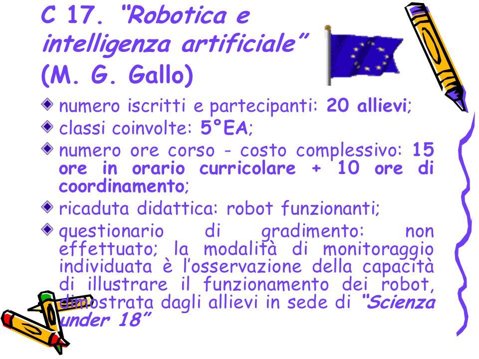 C 17. Robotica e intelligenza artificiale (M. G. Gallo) numero iscritti e partecipanti: 20 allievi; classi coinvolte: 5°EA; numero ore corso - costo c