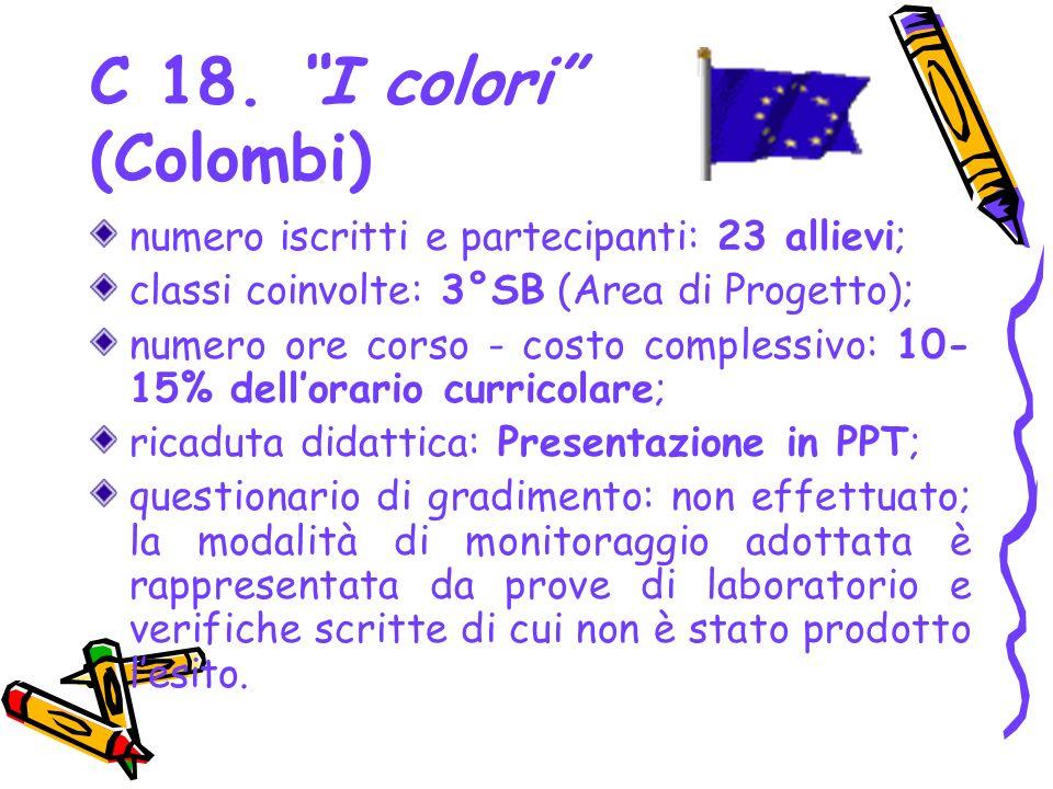 C 18. I colori (Colombi) numero iscritti e partecipanti: 23 allievi; classi coinvolte: 3°SB (Area di Progetto); numero ore corso - costo complessivo: