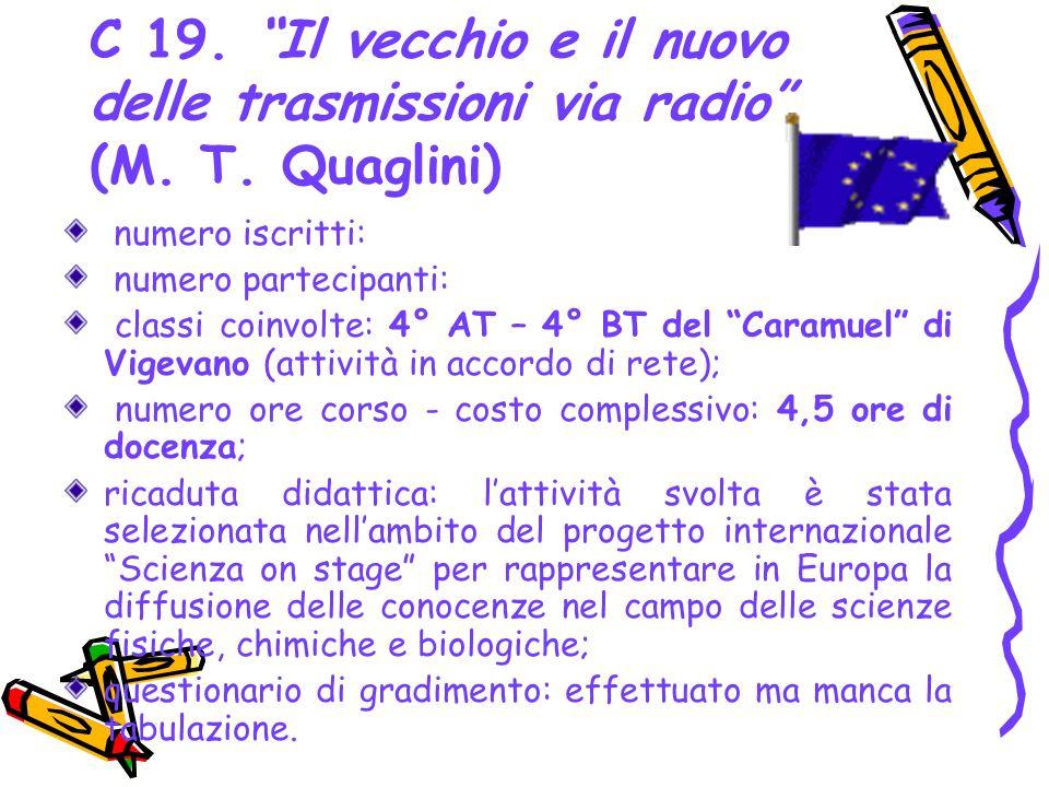 C 19. Il vecchio e il nuovo delle trasmissioni via radio (M. T. Quaglini) numero iscritti: numero partecipanti: classi coinvolte: 4° AT – 4° BT del Ca