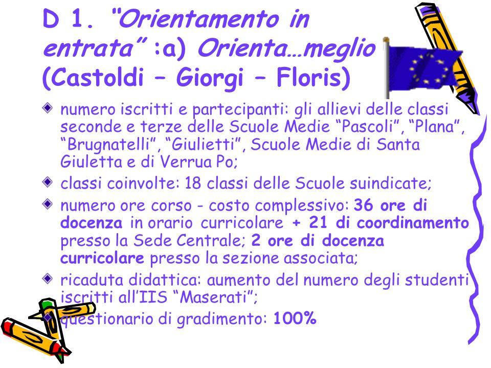 D 1. Orientamento in entrata :a) Orienta…meglio (Castoldi – Giorgi – Floris) numero iscritti e partecipanti: gli allievi delle classi seconde e terze