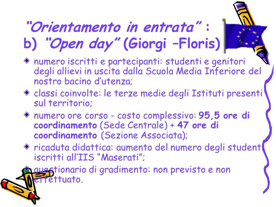 Orientamento in entrata : b) Open day (Giorgi –Floris) numero iscritti e partecipanti: studenti e genitori degli allievi in uscita dalla Scuola Media