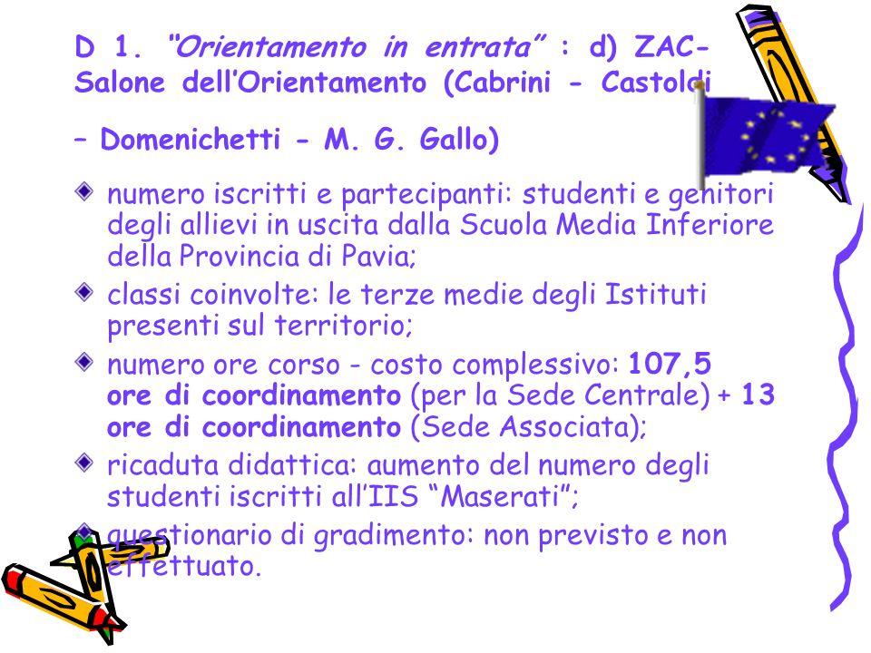 D 1. Orientamento in entrata : d) ZAC- Salone dellOrientamento (Cabrini - Castoldi – Domenichetti - M. G. Gallo) numero iscritti e partecipanti: stude