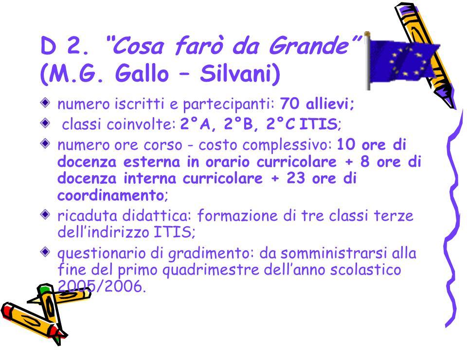 D 2. Cosa farò da Grande (M.G. Gallo – Silvani) numero iscritti e partecipanti: 70 allievi; classi coinvolte: 2°A, 2°B, 2°C ITIS; numero ore corso - c