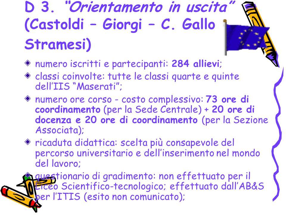 D 3. Orientamento in uscita (Castoldi – Giorgi – C. Gallo - Stramesi) numero iscritti e partecipanti: 284 allievi; classi coinvolte: tutte le classi q