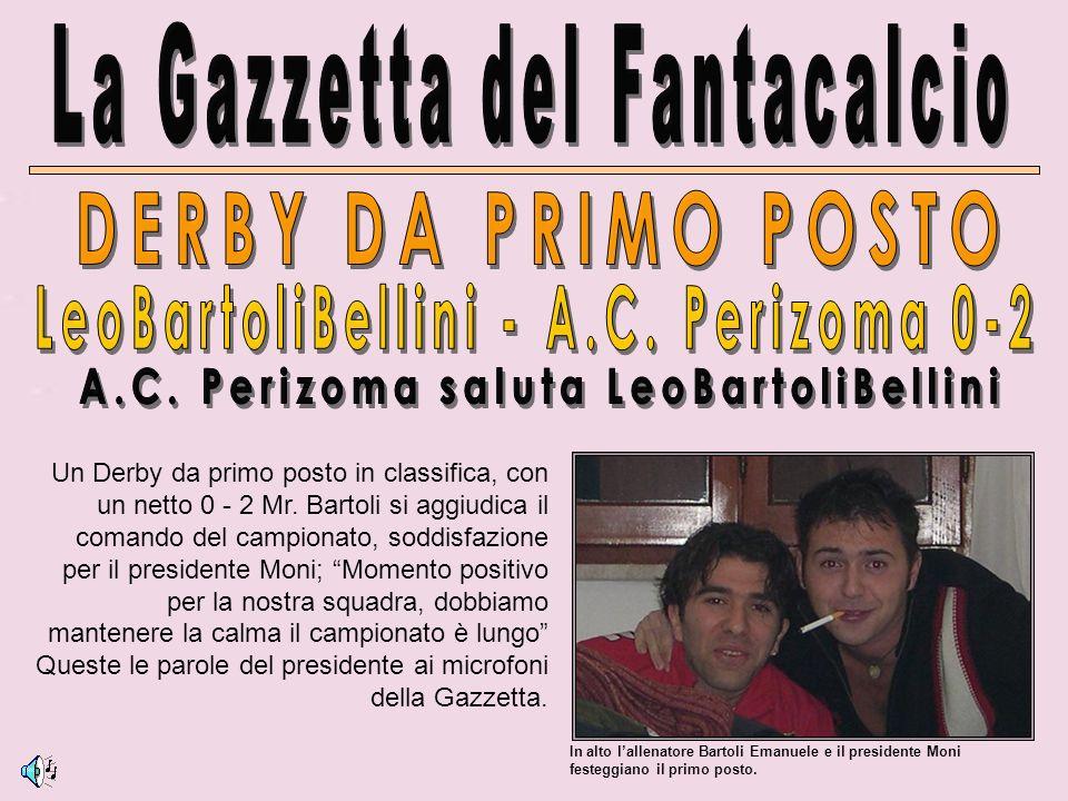 In alto lallenatore Bartoli Emanuele e il presidente Moni festeggiano il primo posto.