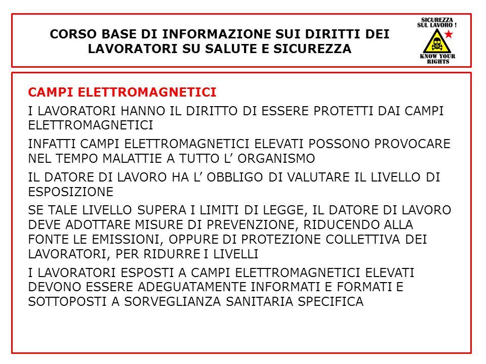 CAMPI ELETTROMAGNETICI I LAVORATORI HANNO IL DIRITTO DI ESSERE PROTETTI DAI CAMPI ELETTROMAGNETICI INFATTI CAMPI ELETTROMAGNETICI ELEVATI POSSONO PROV