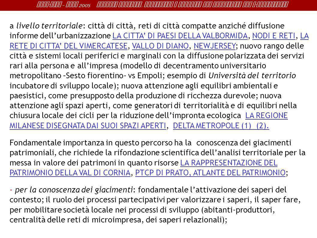Sant ' Anna - IRME 2005 Alberto Magnaghi : Conoscenza e progetto del territorio per l ' innovazione a livello territoriale: città di città, reti di ci