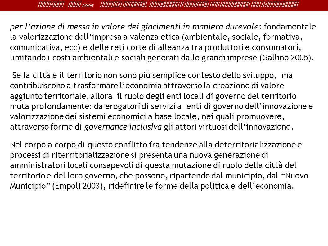 Sant ' Anna - IRME 2005 Alberto Magnaghi : Conoscenza e progetto del territorio per l ' innovazione per lazione di messa in valore dei giacimenti in m