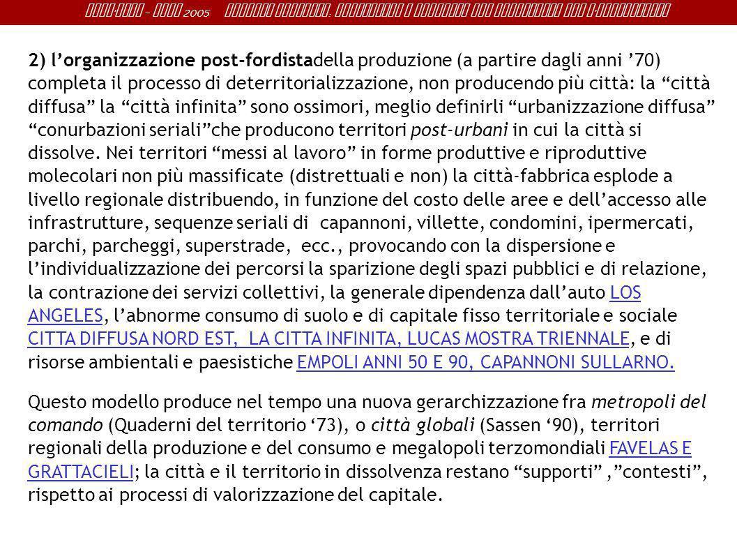 Sant ' Anna - IRME 2005 Alberto Magnaghi : Conoscenza e progetto del territorio per l ' innovazione 2) lorganizzazione post-fordistadella produzione (