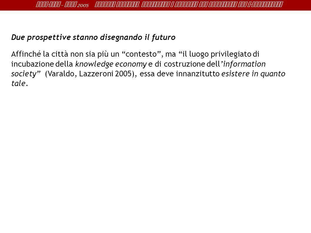 Sant ' Anna - IRME 2005 Alberto Magnaghi : Conoscenza e progetto del territorio per l ' innovazione Due prospettive stanno disegnando il futuro Affinc