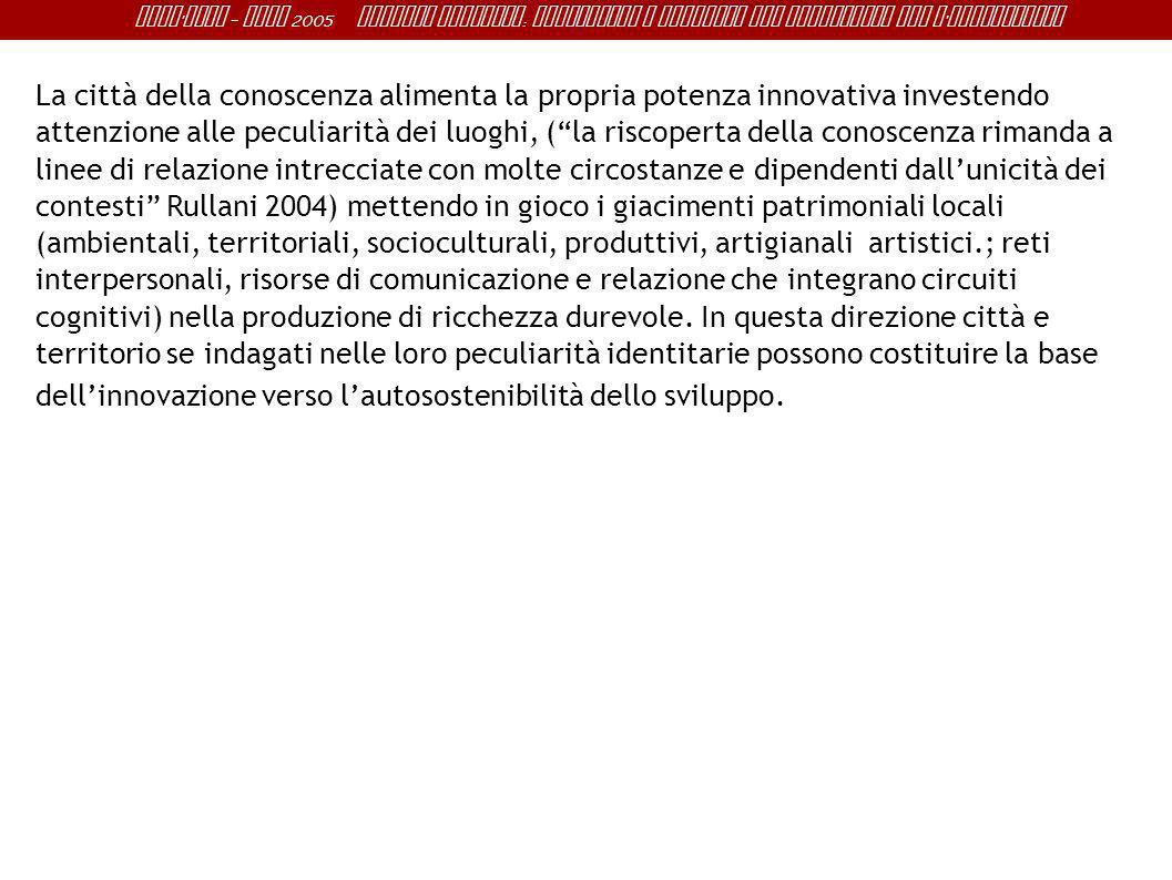 Sant ' Anna - IRME 2005 Alberto Magnaghi : Conoscenza e progetto del territorio per l ' innovazione La città della conoscenza alimenta la propria pote