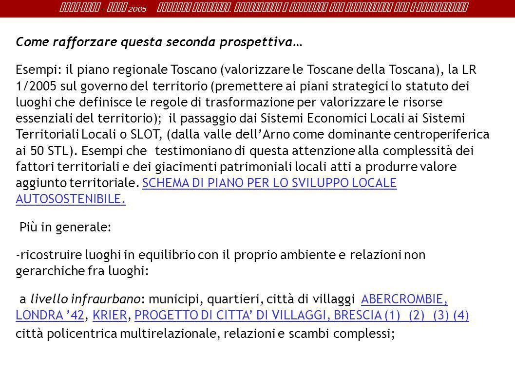 Sant ' Anna - IRME 2005 Alberto Magnaghi : Conoscenza e progetto del territorio per l ' innovazione Come rafforzare questa seconda prospettiva… Esempi