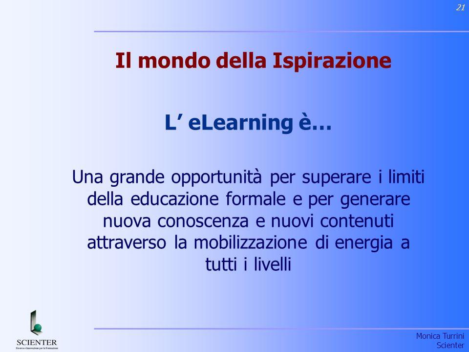 Monica Turrini Scienter 21 Il mondo della Ispirazione L eLearning è… Una grande opportunità per superare i limiti della educazione formale e per generare nuova conoscenza e nuovi contenuti attraverso la mobilizzazione di energia a tutti i livelli