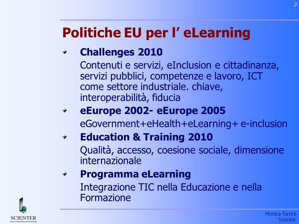 Monica Turrini Scienter 4 Barroso – Priorità per lEuropa al 2010 Prosperità, solidarietà, sicurezza Rilancio strategia di Lisbona per crescita economica e lavoro Nuova generazione programmi di ricerca Nuove politiche per i giovani Nuovi programmi per supportare la competitività ed imprenditorialità