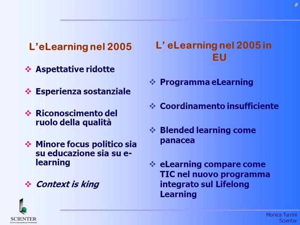 Monica Turrini Scienter 8 L eLearning nel 2005 in EU Programma eLearning Coordinamento insufficiente Blended learning come panacea eLearning compare come TIC nel nuovo programma integrato sul Lifelong Learning LeLearning nel 2005 Aspettative ridotte Esperienza sostanziale Riconoscimento del ruolo della qualità Minore focus politico sia su educazione sia su e- learning Context is king