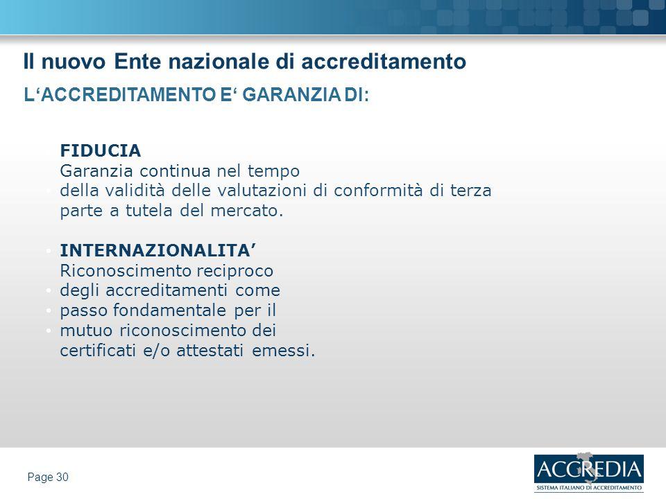 Il nuovo Ente nazionale di accreditamento Page 30 FIDUCIA Garanzia continua nel tempo della validità delle valutazioni di conformità di terza parte a