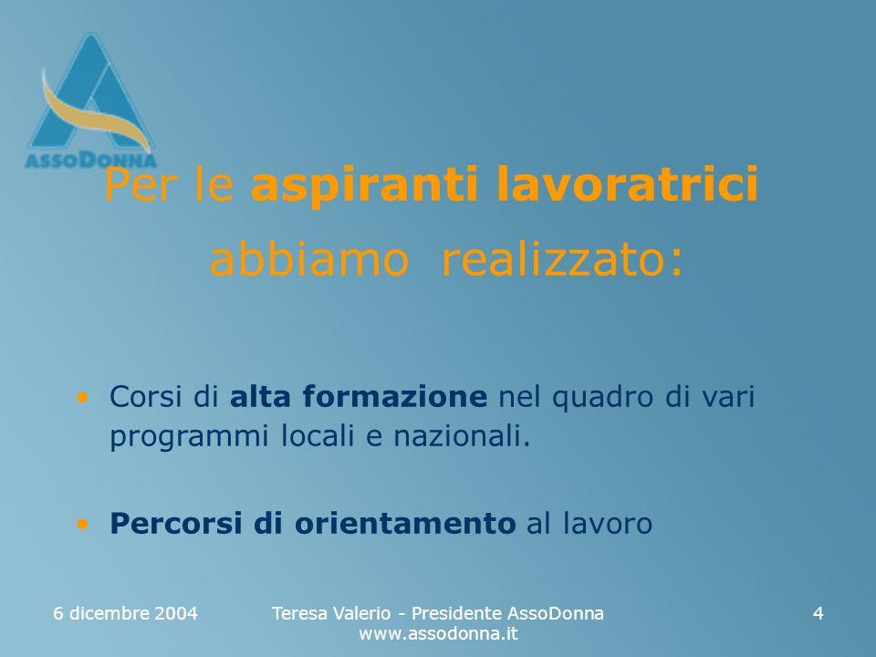6 dicembre 2004Teresa Valerio - Presidente AssoDonna www.assodonna.it 4 Per le aspiranti lavoratrici abbiamo realizzato : Corsi di alta formazione nel quadro di vari programmi locali e nazionali.