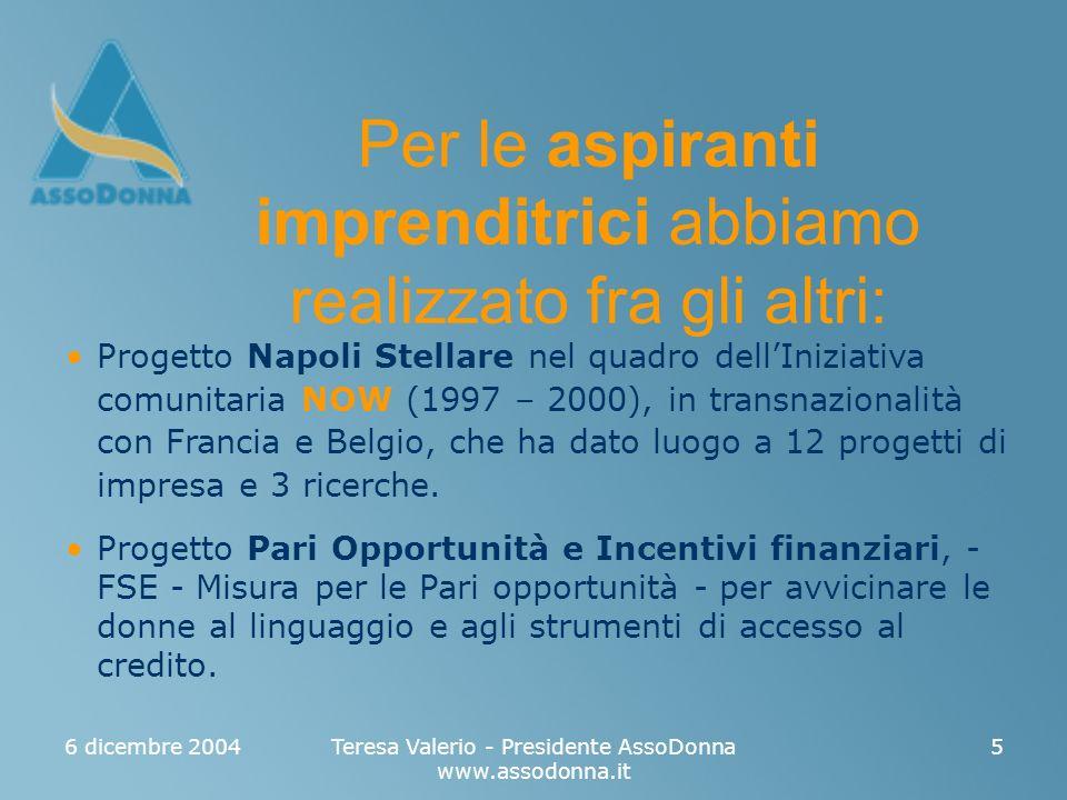 6 dicembre 2004Teresa Valerio - Presidente AssoDonna www.assodonna.it 5 Progetto Napoli Stellare nel quadro dellIniziativa comunitaria NOW (1997 – 2000), in transnazionalità con Francia e Belgio, che ha dato luogo a 12 progetti di impresa e 3 ricerche.