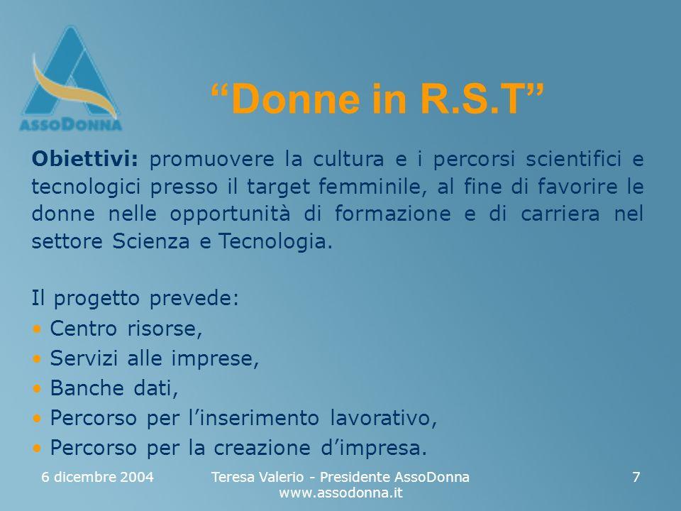 6 dicembre 2004Teresa Valerio - Presidente AssoDonna www.assodonna.it 7 Obiettivi: promuovere la cultura e i percorsi scientifici e tecnologici presso il target femminile, al fine di favorire le donne nelle opportunità di formazione e di carriera nel settore Scienza e Tecnologia.