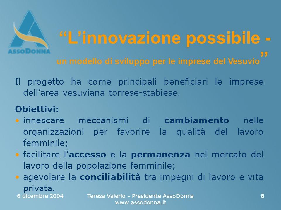 6 dicembre 2004Teresa Valerio - Presidente AssoDonna www.assodonna.it 8 Il progetto ha come principali beneficiari le imprese dellarea vesuviana torrese-stabiese.