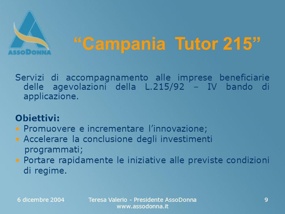 6 dicembre 2004Teresa Valerio - Presidente AssoDonna www.assodonna.it 9 Servizi di accompagnamento alle imprese beneficiarie delle agevolazioni della L.215/92 – IV bando di applicazione.