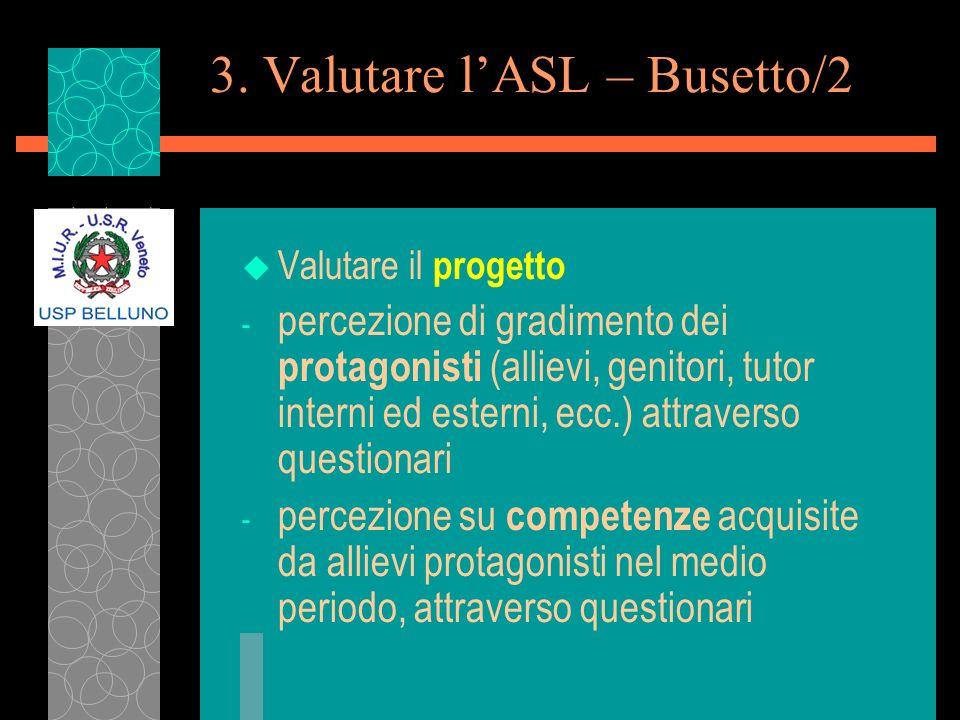 3. Valutare lASL – Busetto/2 u Valutare il progetto - percezione di gradimento dei protagonisti (allievi, genitori, tutor interni ed esterni, ecc.) at