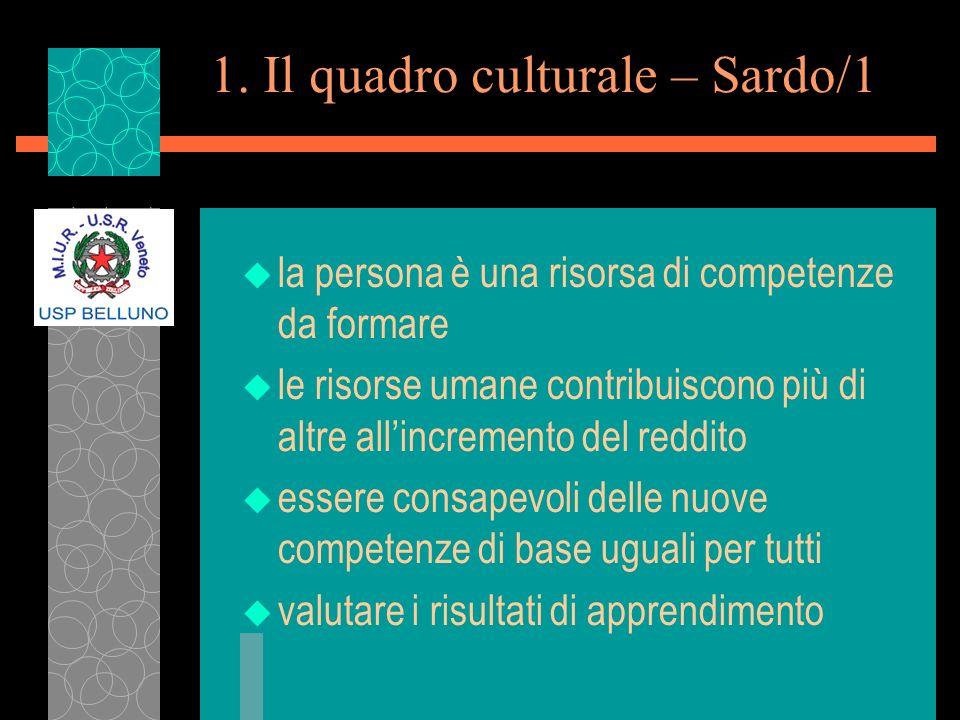 1. Il quadro culturale – Sardo/1 u la persona è una risorsa di competenze da formare u le risorse umane contribuiscono più di altre allincremento del