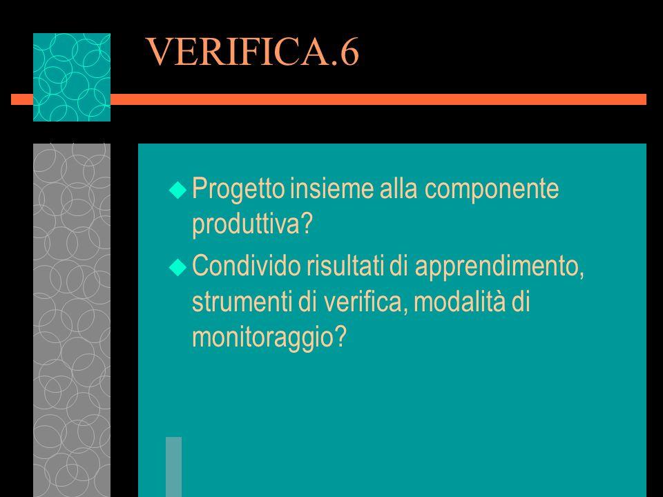 VERIFICA.6 u Progetto insieme alla componente produttiva? u Condivido risultati di apprendimento, strumenti di verifica, modalità di monitoraggio?
