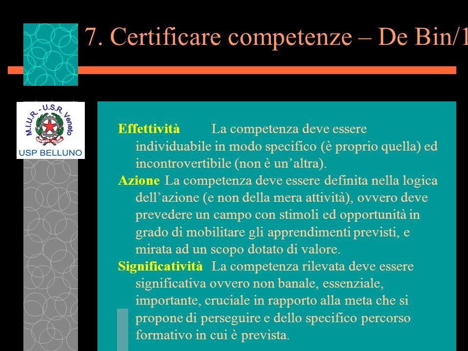 7. Certificare competenze – De Bin/1 EffettivitàLa competenza deve essere individuabile in modo specifico (è proprio quella) ed incontrovertibile (non