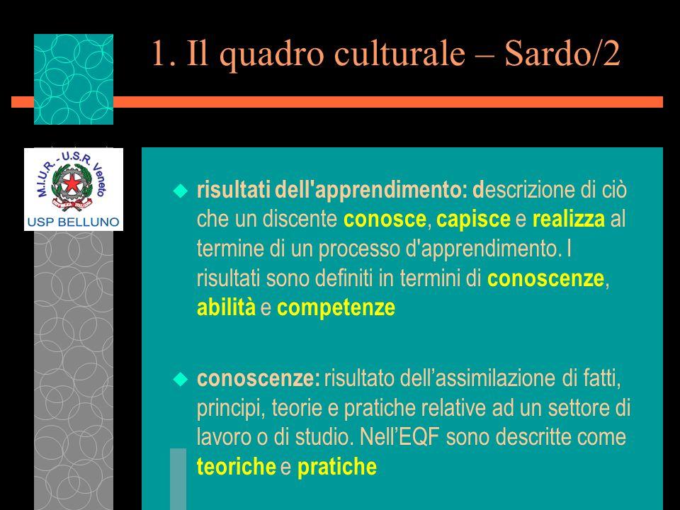 1. Il quadro culturale – Sardo/2 u risultati dell'apprendimento: d escrizione di ciò che un discente conosce, capisce e realizza al termine di un proc