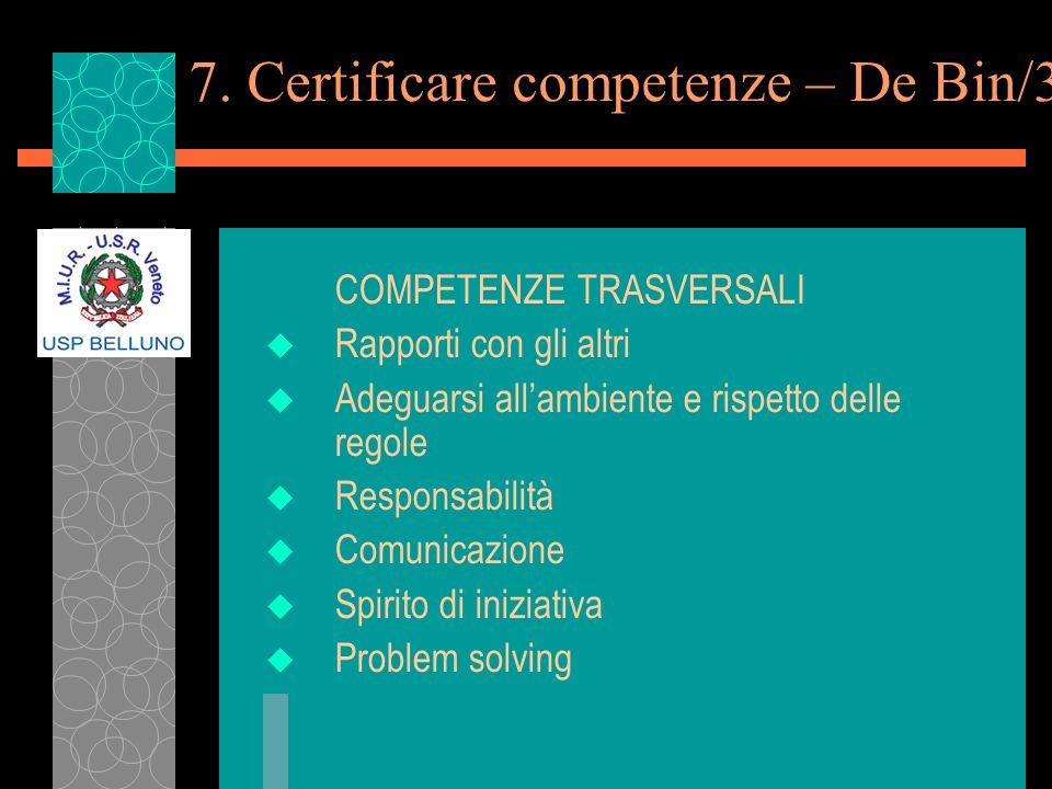 7. Certificare competenze – De Bin/3 COMPETENZE TRASVERSALI u Rapporti con gli altri u Adeguarsi allambiente e rispetto delle regole u Responsabilità